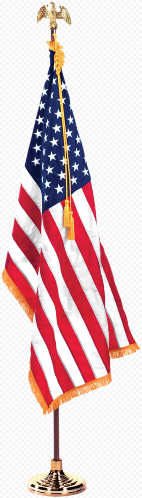 Indoor Office American Flag On Pole With Eagle On Top