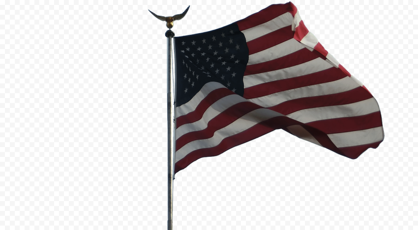 Flag Of United States On Pole With Eagle On Top