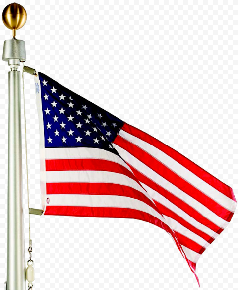 American Flag On Pole With Gold Ball On Top