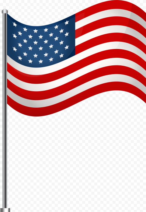 Vector United States American Flag On Pole
