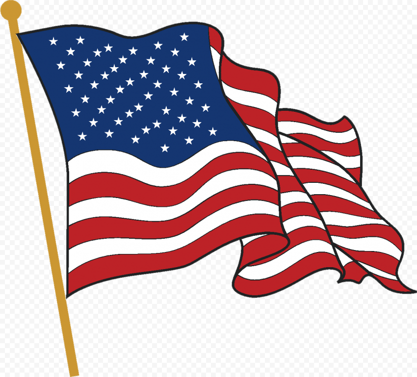 Vector Clipart Cartoon American Flag On Pole