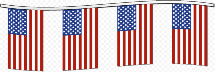 Hanging Group Of American Flags Clipart