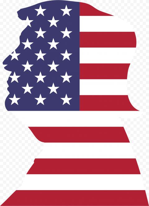 President Donald Trump Head Usa Flag Silhouette