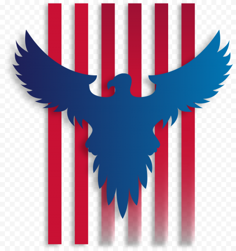 American Flag Red Rays With Blue Eagle Background