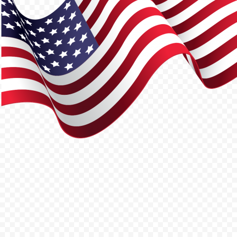 HD Waving American Flag Illustration Ribbon Style