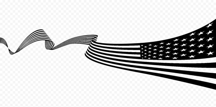 Black Usa American United States Flag Ribbon Pattern