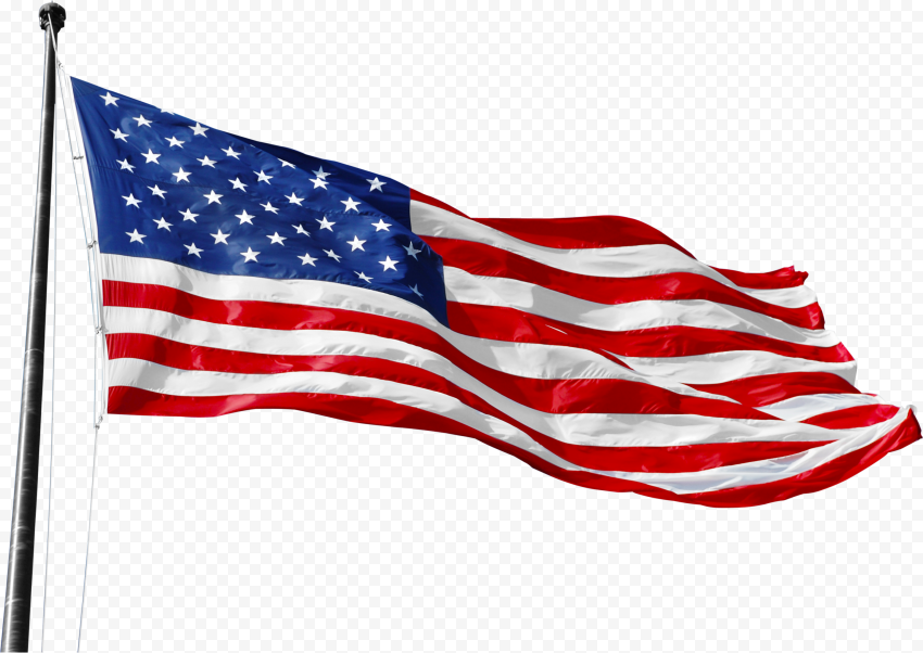 High Resolution Realistic United States Flag On Pole