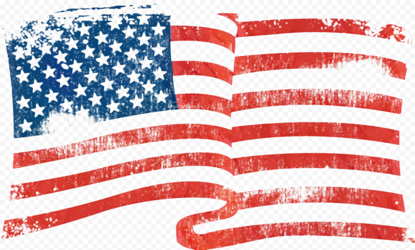 Waving American Flag Grunge Rubber Stamp Texture