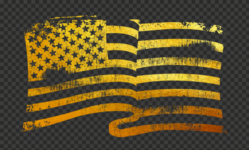 Gold Waving American Flag Grunge Stamp Texture