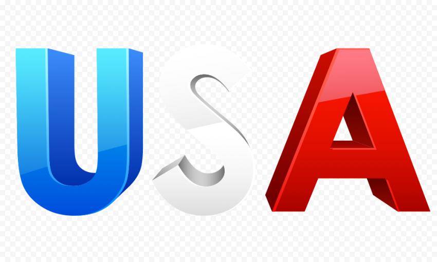 USA Word Flag Colors US Logo