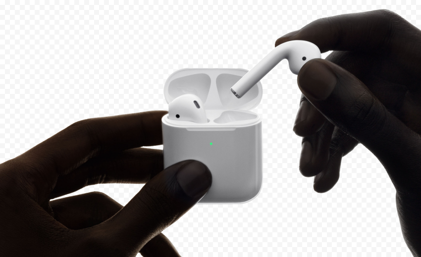 Hand Hold Airpods 2gen Ear With Opened Case