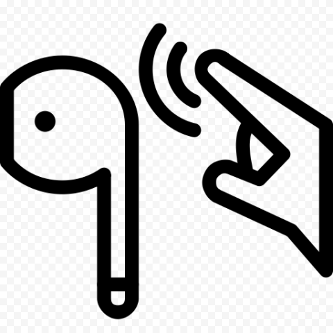 Black Outline Airpods Earbuds Touch Control Icon