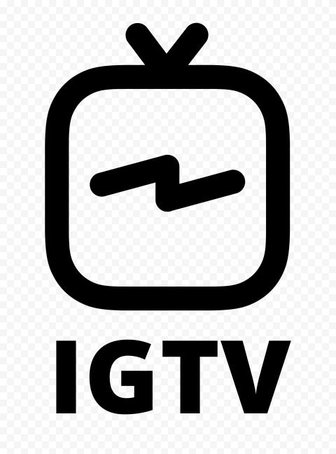 Black IGTV Text With Logo Instagram Tv Icon