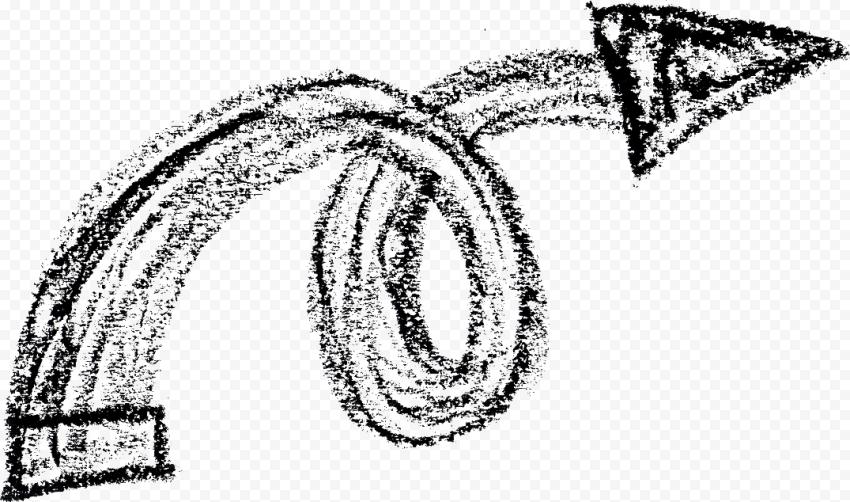 Black Chalk Sketch Spiral Arrow Right