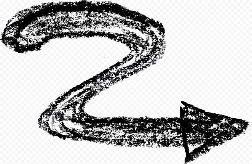 Zigzag Black Chalk Hand Sketch Arrow Point Right