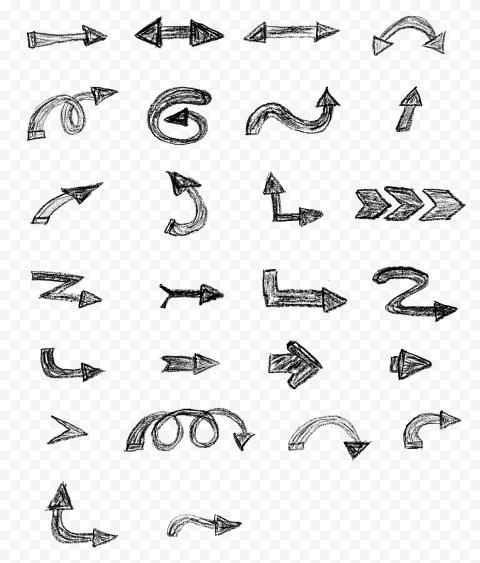 Set Of Black Hand Sketch Chalk Style HD Arrows