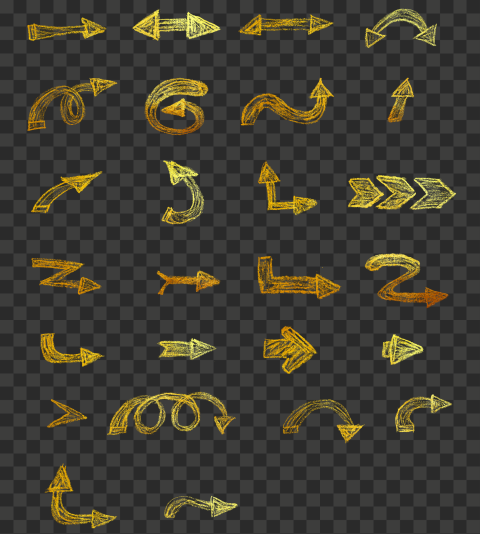 Set Of Golden Gold Sketch Chalk Style HD Arrows