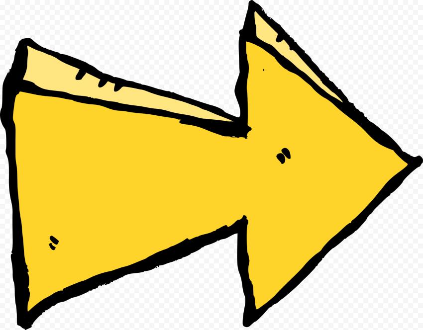 To Right Yellow Arrow Cartoon Clipart Comic Style