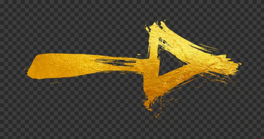 Golden Gold Arrow Brush Stroke Effect Point Right