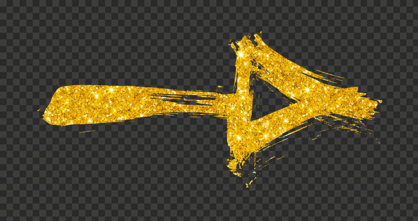 Gold Glitter Arrow Brush Stroke Effect Point Right