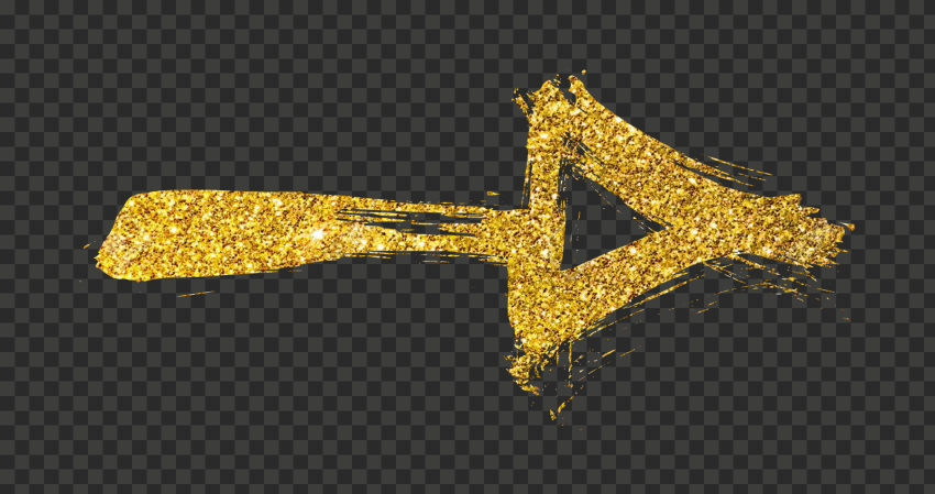 Gold Glitter Arrow Brush Effect Pointing Right