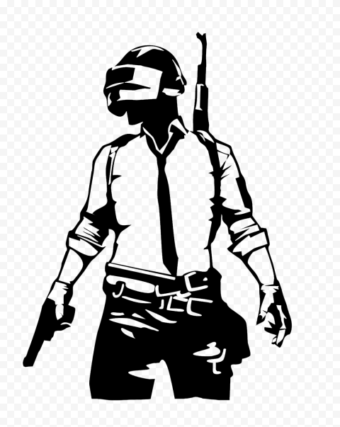 PUBG Black Silhouette Soldier Player With Helmet