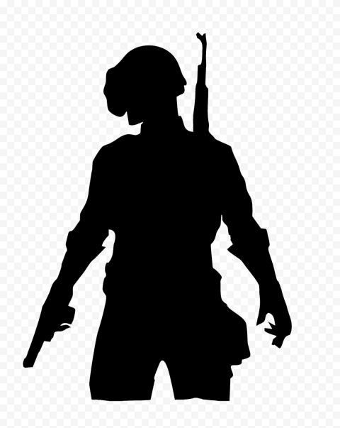 PUBG Black Silhouette Player Soldier With Helmet