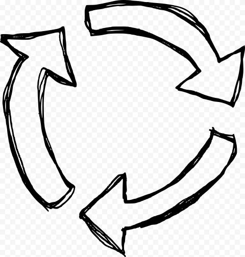 Hand Drawn Outline Three Circular Arrows Refresh