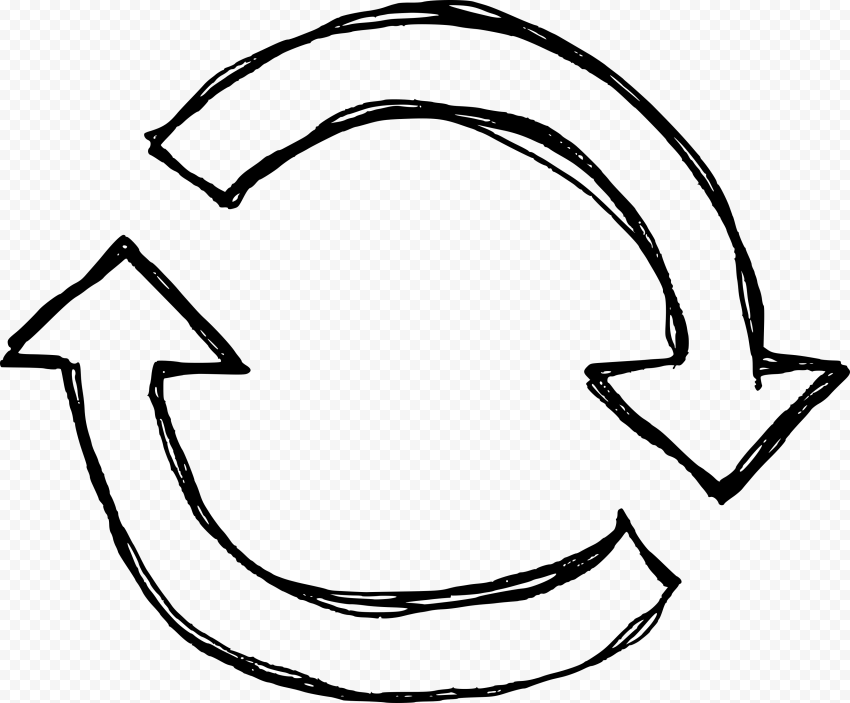 Drawing Outline Two Circular Arrows Refresh