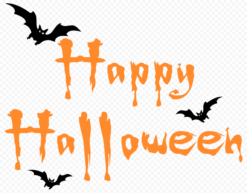 Orange Happy Halloween Logo Text With Black Bats