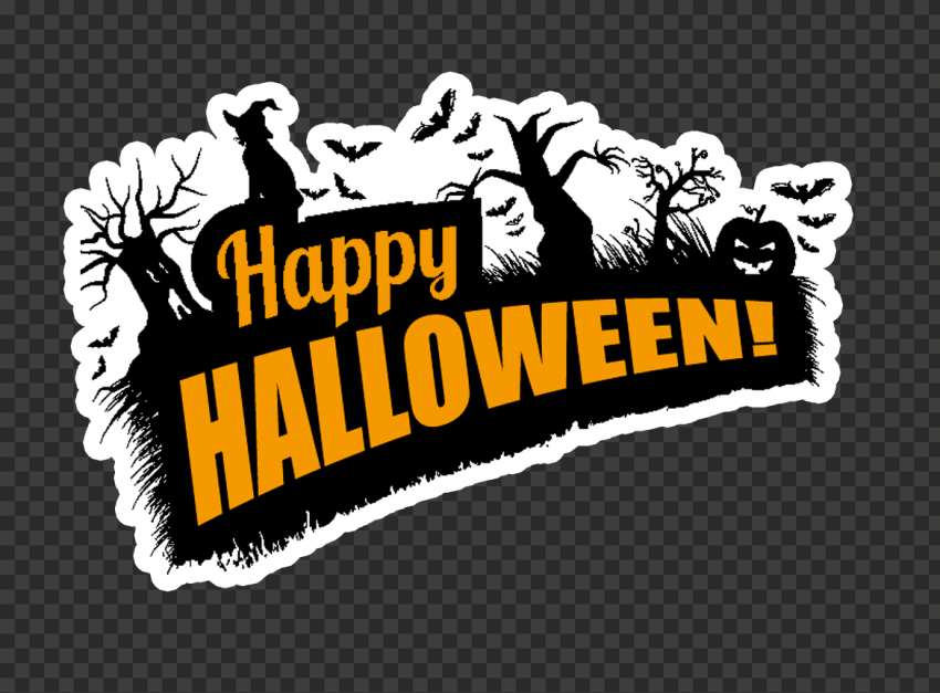 Happy Halloween Logo Sticker Witch Tree Silhouette