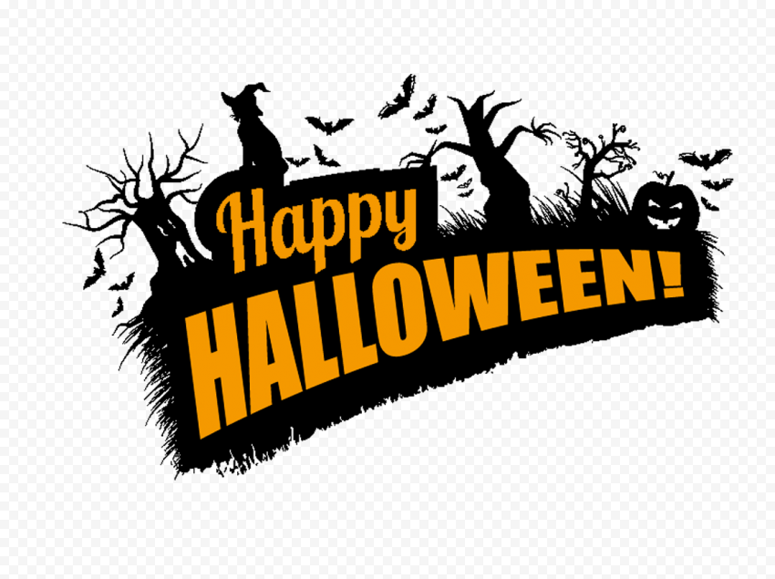 Happy Halloween Logo Witch Trees Pumpkins