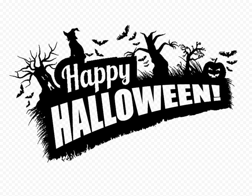 Black Happy Halloween Logo Witch Trees Pumpkins