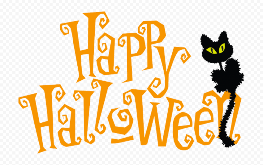 Happy Halloween Text Logo With Black Cat