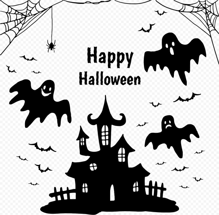 Black Happy Halloween Image Design Silhouettes