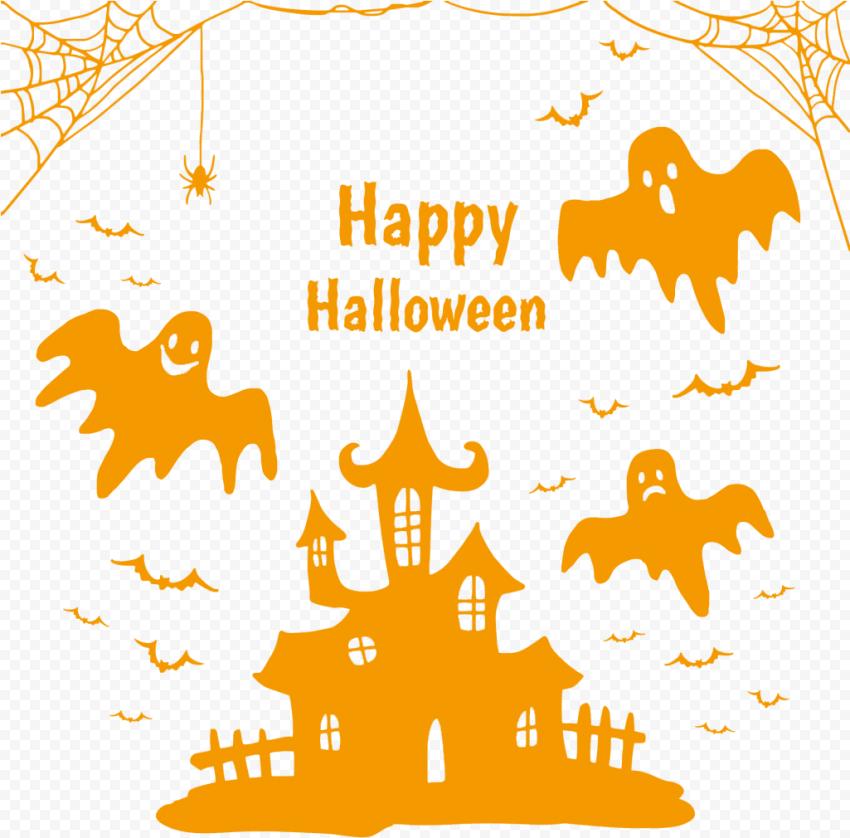 Orange Happy Halloween Image Design Silhouettes