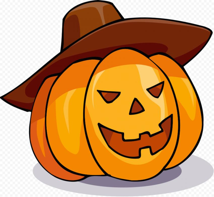 Halloween Emoji Pumpkin Face Wear Cowboy Hat
