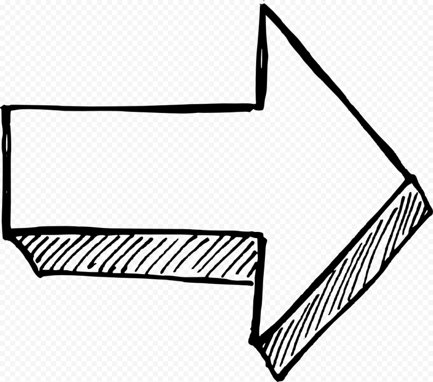 Black Outline Drawing Arrow 3D Effect Point Right