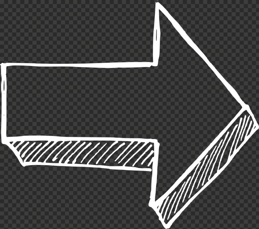 White Outline Drawing Arrow 3D Effect Point Right
