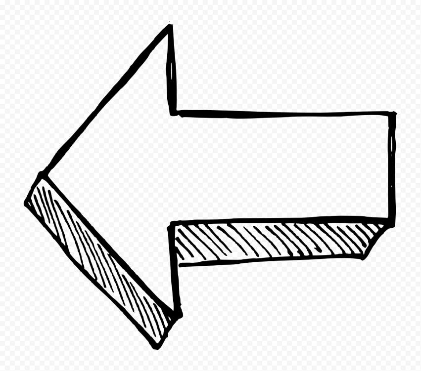 Black Outline Drawing Arrow 3D Effect Point Left