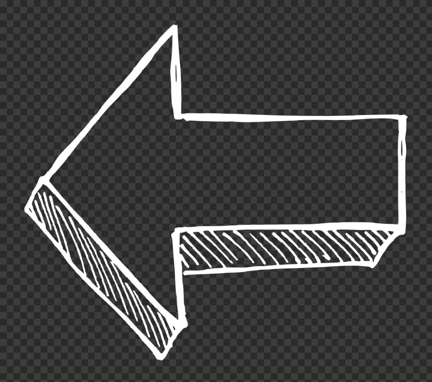 White Outline Drawing Arrow 3D Effect Point Left