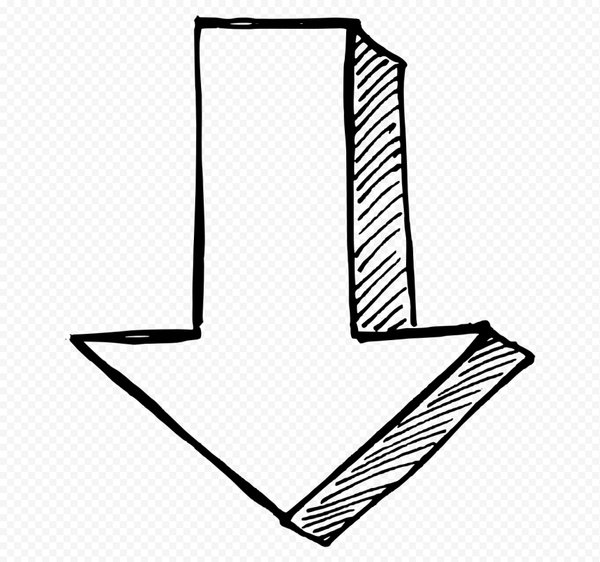 Black Outline Drawing Arrow 3D Effect Point Down