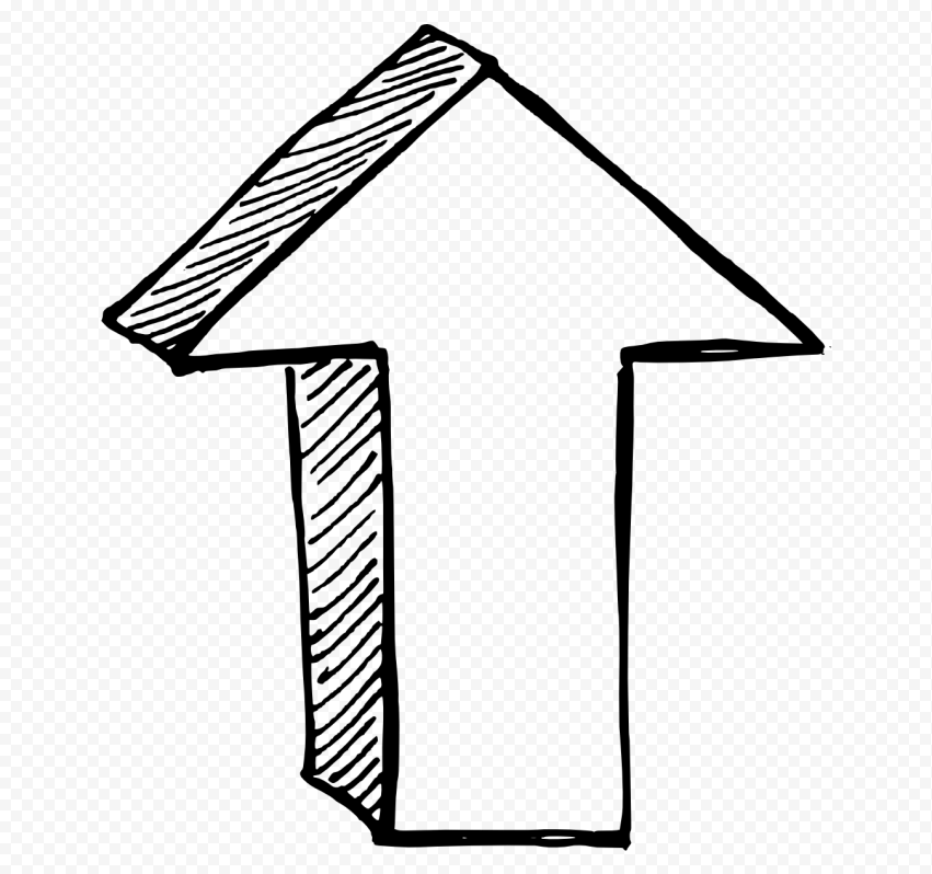 Black Outline Drawing Arrow 3D Effect Point UP