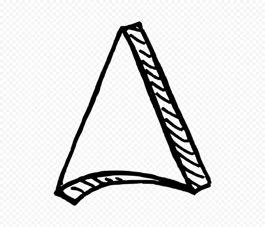 Black Outline Drawing Arrowhead 3D Effect To Up