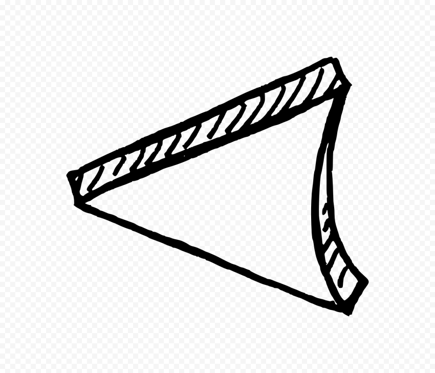 Black Outline Drawing Arrowhead 3D Effect To Left