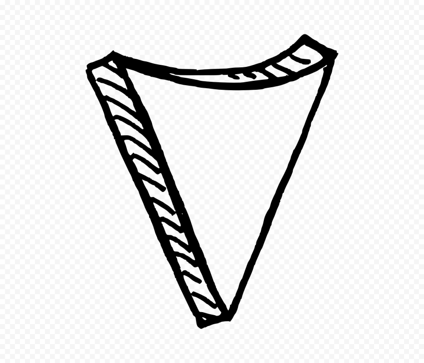 Black Outline Drawing Arrowhead 3D Effect To Down