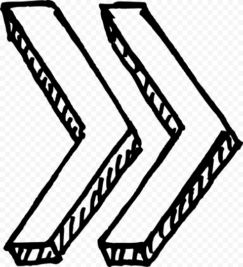 Black Outline Drawing Double Arrows 3D Point Right