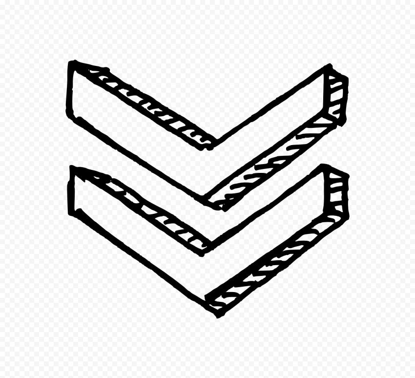 Black Outline Drawing Double Arrows 3D Point Down