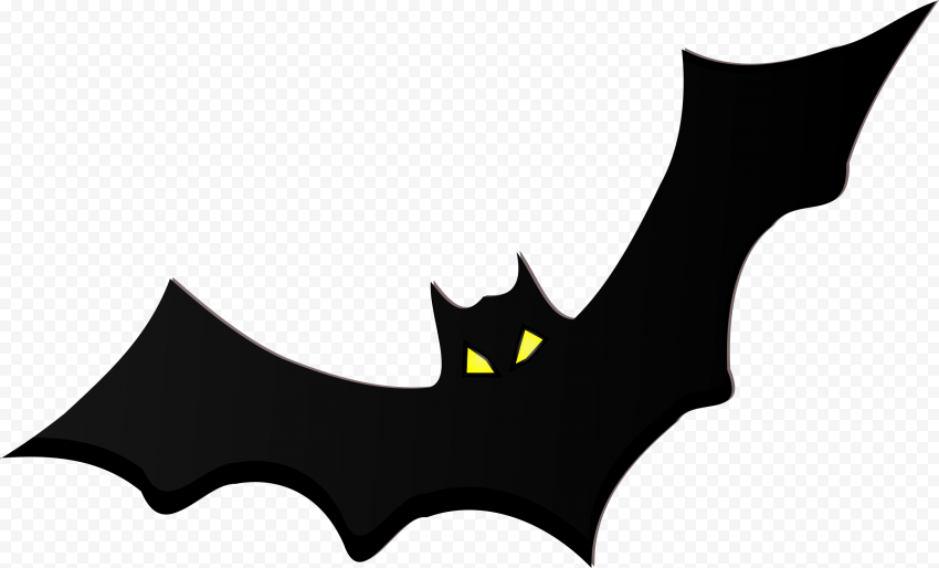 HD Black Bat Halloween Silhouette With Yellow Eyes