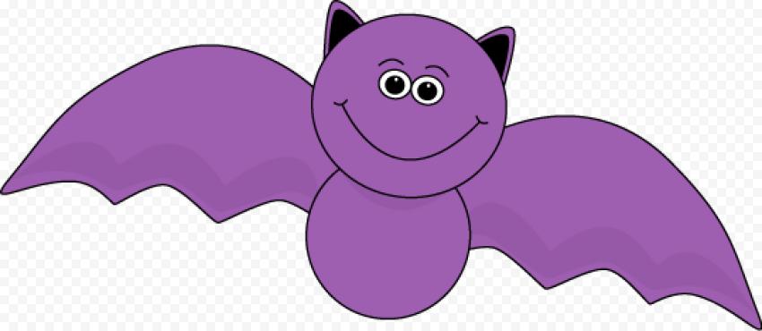 Cute Purple Vampire Bat Halloween Cartoon
